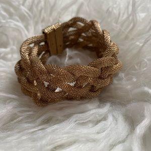Vintage Braided Metal Bracelet in Gold